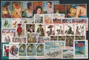 Art motive 1971-1973 10 sets + 10 stamps + 1 block of 4, Művészet motívum 1971-1973 10 klf sor + 10 klf önálló érték + 1 négyestömb