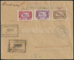 "Mi 385, 387-388 on airmail cover ""BUDAPEST"" - ""WIEN"" - Zürich, Légi levél Ikarusz 1000K, 5000K, 10000K bérmentesítéssel"