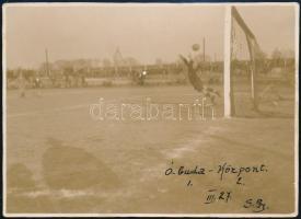cca 1930 Budapest, Óbuda Százados út 53. Óbuda-Központ labdarúgó mérkőzés, háttérben a gázgyár, 8x11 cm