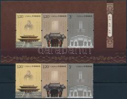 2010 Konfucius temploma és síremléke hármascsík Mi 4187-4189 + blokk Mi 167