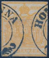 1850 1kr HP I. sötétnarancs liliputi vágással ,,HOM(ON)NA