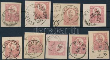 1871 9 db díjjegyes kivágás szép bélyegzésekkel