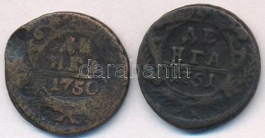 Orosz Birodalom 1750-1751. Denga (1/2k) Cu (2xklf) T:2-,3 ü. Russian Empire 1750-1751. Denga (1/2 Kopek) Cu (2xdiff) C:VF,F ding