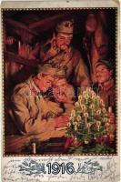 1916 / WWI K.u.K. military art postcard. Kriegsfürsorgeamt des k.u.k. Kriegsministeriums s: Alfred Offner, 1916 K.u.K. hadsereg, karácsony, s: Alfred Offner