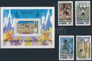1980 Olimpia sor Mi 786-789 + blokk Mi 26