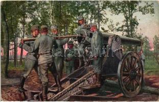 Ladung eines schweren Geschützes in Bessarabien / K.u.K. artillery, 1916 Nehéz tüzérségi ágyú töltése Besszarábiában