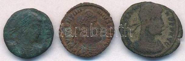 3db-os IV. századi római rézpénz tétel: Valens, Valentinianus és II. Constantinus T:3
