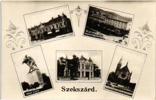 Szekszárd, Selyemtenyésztési Főfelügyelőség, Garay tér, Városháza, Hősök szobra, templom
