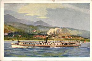 Personendampfer bei der Villen-colonie Leányfalu / Passenger steamship, Leányfalu személyszállító gőzös Leányfalu nyaralótelepnél