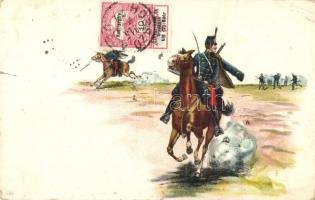 WWI K.u.k. hussars, TCV card. litho, I. világháború, K.u.K. huszárok, TCV card. litho