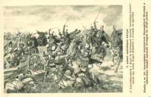 WWI K.u.K. military, cannon, artist signed, 3. számú csataképes kártya; honvédhuszárok a Rahó és Kőrösmező közötti harcokban kiszorítanak egy orosz üteget és elveszik az ágyúkat