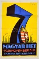 1928 Magyar Hét - Magyar árut vásárolj! Litográf reklámplakát. Rajzolta: Ifj. Richter. Nyomtatta: Athenaeum, Budapest. Felelős kiadó: Dr. Anker György. 63 x 94 cm Hajtogatva.