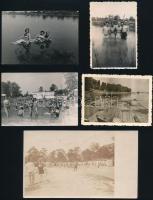 cca 1930-1940 Nekem a Balaton a Riviéra... 5 db fürdőéletet ábrázoló fotó, egy részük hátulján feliratozva, különböző méretben
