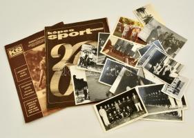 cca 1960 Sport tétel: Számos eredeti fotó különböző sportágak sportolóival több birkózó, összesen 25 db fotó. valamint két sport újság