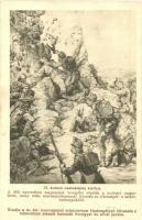 WWI K.u.K. military art postcard s: Basch Árpád, 13. számú csataképes kártya. Déli harctéren csapataink levegőbe röpítik a kulistei magaslatot; A Hadsegélyező Hivatal kiadása  s: Basch Árpád