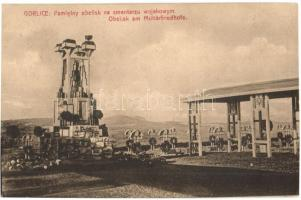 Gorlice, Pamietny obelisk na cmentarzu wojskowym / Obelik am Militärfriedhof / military cemetery monumen, Katonai temető, emlékmű