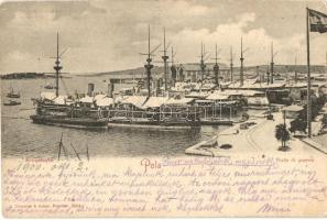 Pola, Kriegshafen / Porto di guerra / Kriegsmarine port, warships, Kriegsmarine kikötő, hadihajók