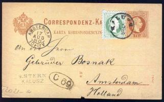 1880 Díjjegyes levelezőlap 3kr kiegészítő bérmentesítéssel Hollandiába / 2kr PS-card with 3kr additional franking KALUSZ-AMSTERDAM