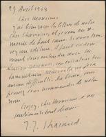 Jérôme Tharaud (1874-1953) francia grafikus saját kézzel írt levele / autograph signed letter of French graphic Jérôme Tharaud