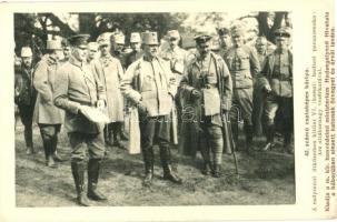 WWI K.u.K. military, Lieutenant General with his military staff, 42. számú csataképes kártya. A Radymnoi ütközetben kitűnt VI. (kassai) hadtest parancsnoka: Arz altábornagy és vezérkara; A Hadsegélyező Hivatal kiadása