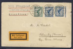 1926 Első repülés levél / First flight cover Berlin-Paris to Blondy