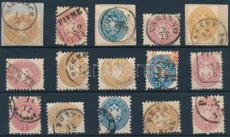15 stamps readable cancellatons, 15 db bélyeg szép/ olvasható bélyegzésekkel