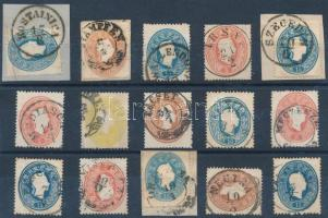 15 stamps with nice/readable cancellations, 15 db bélyeg szép/olvasható bélyegzésekkel