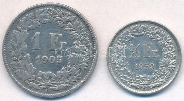 Svájc 1905B 1Fr Ag Helvetia + 1959B 1/2Fr Ag T:3,2 Switzerland 1905B 1 Franc Ag Helvetia + 1959B 1/2 Franc Ag C:F,XF