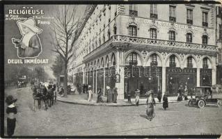 Paris, A La Religieuse Deuil Immediat / hotel advertisement, automobile