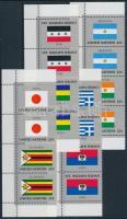 Flag set in corner stripes of 4, Zászló sor ívsarki négyescsíkokban
