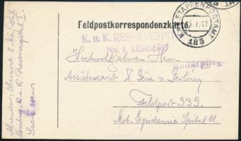 1917 Tábori posta levelezőlap / Field postcard K.u.k RESERVESPITAL No.1. LEMBERG + EP 185