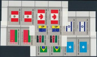 Zászló sor ívsarki négyescsíkokban, Flag set corner stripes of 4