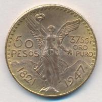 Mexikó 1947. 50P aranyozott Br hamisítványa T:2 Mexico 1947. 50 Pesos gold plated Br fake C:XF