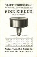 Staufferbüchsen aus Messing. Eine Zierde für jede Maschine. Schuchardt & Schütte in Wien, Budapest un Prag / German machine tools factory advertisement (EK)