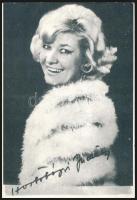 Hortobágyi Judit (?-?) színésznő aláírása őt magát ábrázoló fotó hátulján