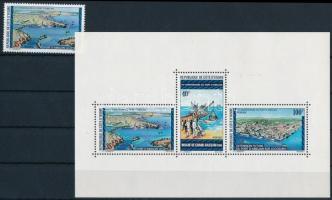 Abidjan Harbor stamp + block Abidjani kikötő bélyeg + blokk