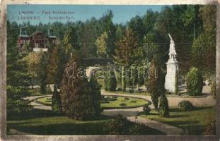 Ukrajna; T2/3; Lviv, Lwów, Lemberg; Park Kilinskiego / Kilinski park, monument (worn)