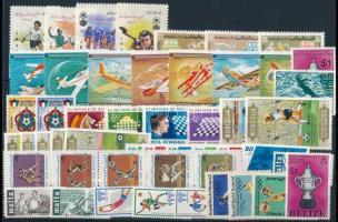 Sport 1965-1980 12 sets + 3 stamps, Sport motívum 1965-1980 12 klf sor + 3 klf önálló érték