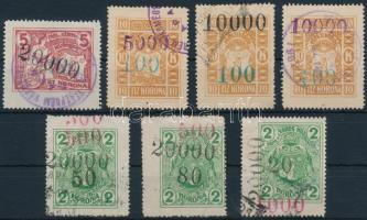 1923 7 db klf Pápa városi illetékbélyeg elcsúszott felülnyomásokkal (43.500)
