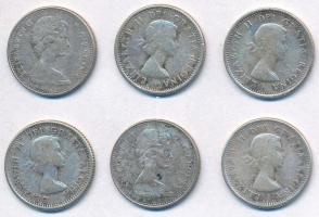 Kanada 1960-1968. 10c Ag (6xklf) T:2,2- patina Canada 1960-1968. 10 Cents Ag (6xdiff) C:XF,VF patina