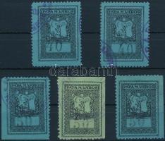 1932 5 db klf Pápa városi illetékbélyeg (64.000)