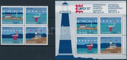 Stamp Exhibition block of 4 + block, Bélyegkiállítás négyestömb + blokk
