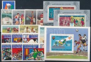 1968-1982 Sport 13 stamps + 4 blocks 1968-1982 Sport motívum 13 db klf bélyeg, közte teljes sorok + 4 db klf blokk