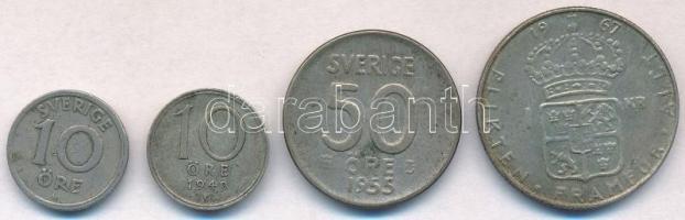 Svédország 1923W 10ö Ni-Br + 1949TS 10ö Ag + 1955TS 50ö Ag + 1967U 1K Ag T:2-,3 Sweden 1923W 10 Öre Ni-Br + 1949TS 10 Öre Ag + 1955TS 50 Öre Ag + 1967U 1 Krona Ag C:VF,F Krause KM#795, KM#813, KM#825, KM#826