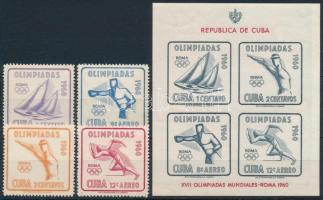 1960 Nyári Olimpia; Róma sor Mi 669-672 + vágott blokk Mi 18