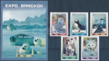 International Stamp Exhibition BANGKOK; Arctic wildlife set + block Nemzetközi bélyegkiállítás BANGKOK; Sarki állatvilág sor + blokk