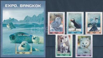 2003 Nemzetközi bélyegkiállítás BANGKOK; Sarki állatvilág sor Mi 4538-4542 + blokk Mi 184