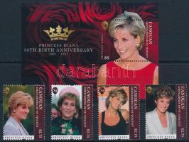 Princess Diana's 50th Birthday set + block, Diana hercegnő születésének 50. évfordulója sor + blokk