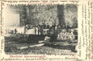 Aknaszlatina, Slatinské Doly, Solotvyno; Kunigunda-bánya belső munkásokkal. Berger Miksa kiadása / mine interior with miners