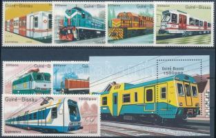 Vasúti járművek sor + blokk, Railway vehicles set + block